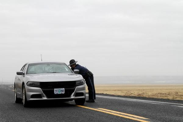 <p>State police at a roadblock near the Malheur National Wildlife Refuge.</p>