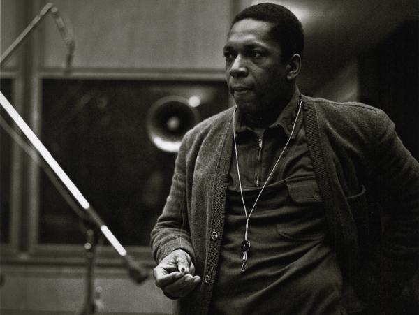 John Coltrane during the recording of <em>A Love Supreme</em> in December 1964.