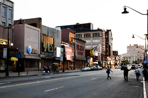 The view looking west on Market Street in Downtown Newark, N.J.