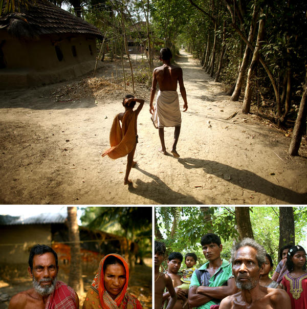 Thousands have been relocated from Ghoramara island to nearby Sagar island, including (counterclockwise from top) Sushil Mali, who walks with his grandson; and Muntaz Sheikh and his wife, Zarina Bibi. Debendra Tarek, 80, standing with other villagers, has stayed on Ghoramara.