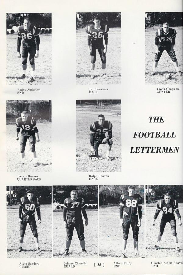 Jeff Sessions, top center, appears in one of his high school yearbooks as a member of his football team.