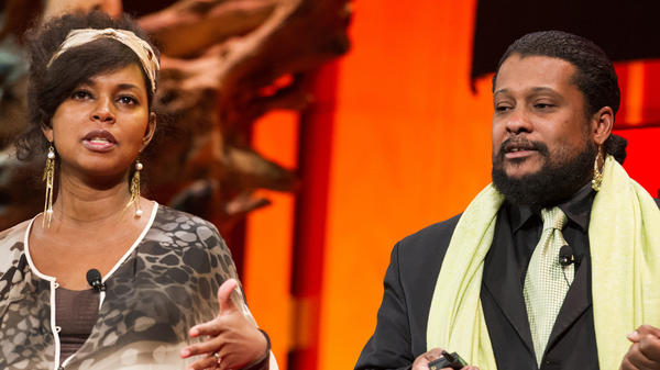 Biologist Tyrone Hayes speaking with filmmaker Penelope Jagessar Chaffer at TED Women.