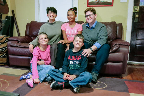 Dylan and Hayden (front, left to right) are adopted 10-year-old twins. Born a boy, Dylan has identified as a girl since age 4. Her mothers Jennifer and Marla (top, left to right, with daughter Michaela in the middle) had planned to change the gender listed on Dylan's official documents when she got a driver's license. They sped up that process after Donald Trump's election.