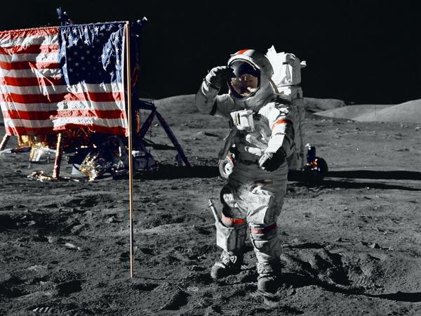 Cernan salutes the U.S. flag during his moonwalk in 1972. No one else has been there since Apollo 17 left.