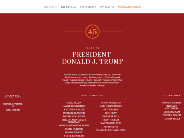 "The Opening Day 45 website advertised an event honoring Donald Trump and listed his sons, Donald Trump Jr. and Eric Trump, as honorary co-chairmen. The site was later changed to say ""Coming Soon."""