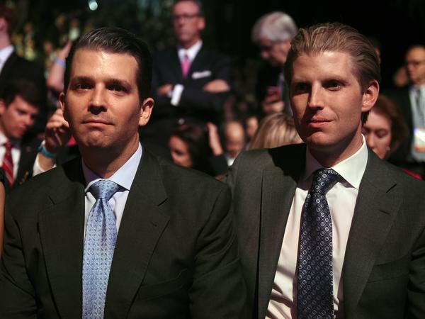 "Donald Trump's sons, Donald Trump Jr. (left) and Eric Trump, were prominently mentioned in the online invitation to the Jan. 21 fundraiser. A spokeswoman for Trump transition team said the two men ""are not involved in any capacity"" with the event."