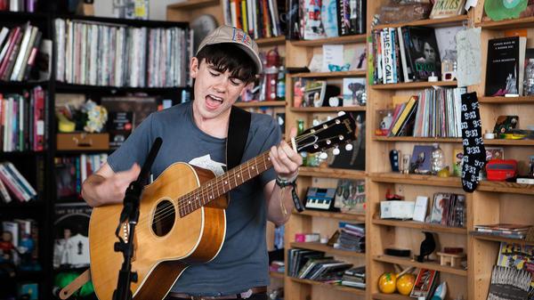 Declan McKenna perform a Tiny Desk Concert on Aug. 2, 2016. (Claire Harbage/NPR)