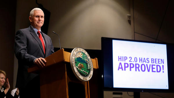 Indiana Gov. Mike Pence announces in 2015 that the federal Centers for Medicare and Medicaid Services approved the state's waiver request to expand Medicaid coverage.