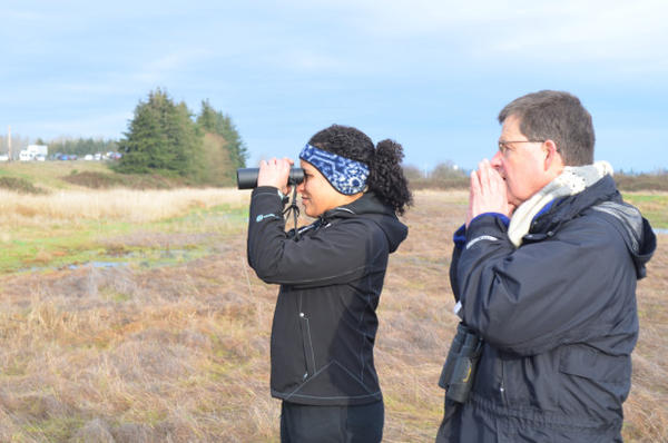 <p>Diana Antunes and Scott Atkinson are counting the birds on an abandoned farm north of Everett, Washington. They're just two of the tens of thousands of birders participating in the 117th Christmas Bird Count, an annual survey of the birds of North and Central America.</p>