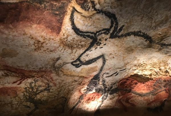The French government has bulit an exact replica of the prehistoric paintings in Lascaux, next to the originals. This photo was taken in the replicated cave. The originals were painted some 20,000 years ago, but are closed to the public to protect the artwork.