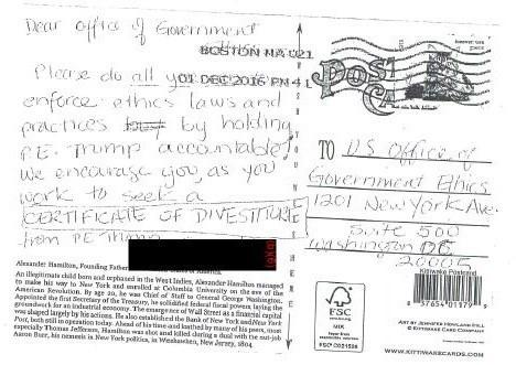 A copy of the postcard received by the OGE.