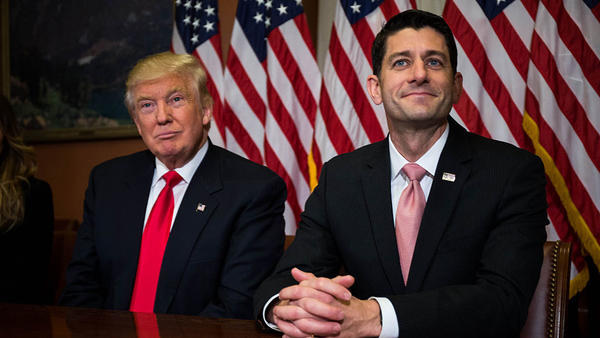 President-elect Donald Trump meets with House Speaker Paul Ryan at the U.S. Capitol for a meeting in November just after Election Day.