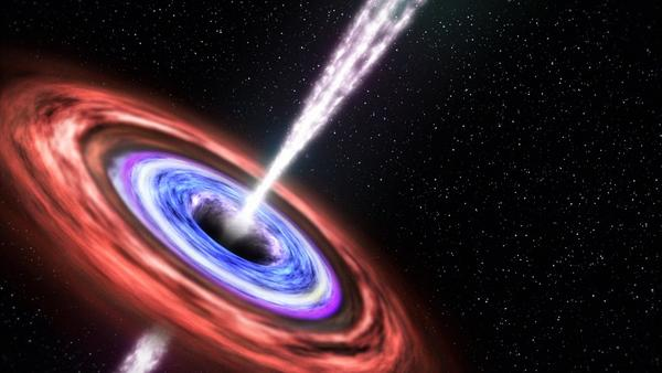 "An artist's rendering depicts what happened when a black hole devoured a star in 2011 and ejected some of the stellar remains in a jet of particles pointed at Earth. This blazing quasar, or ""blazar,"" was far enough away that it posed no harm to Earthlings."
