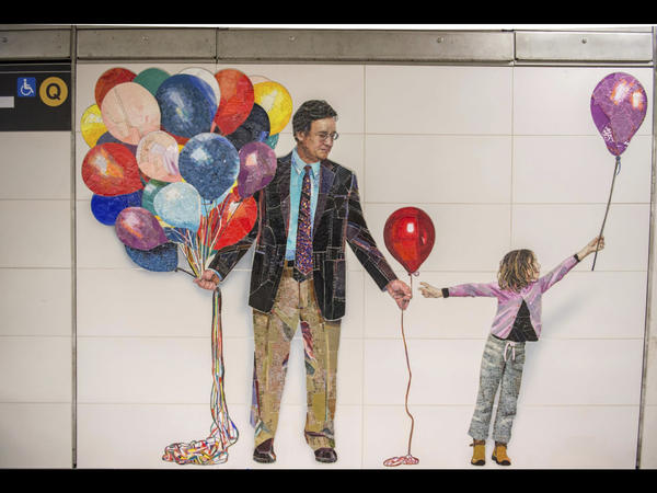 This mosaic by Vik Muniz is in the 72nd Street station of the Second Avenue subway line in New York City. The line will eventually have four stations, each with walls decorated with ceramic-tile or mosaic pieces by artists Chuck Close, Sarah Sze, Jean Shin and Vik Muniz.