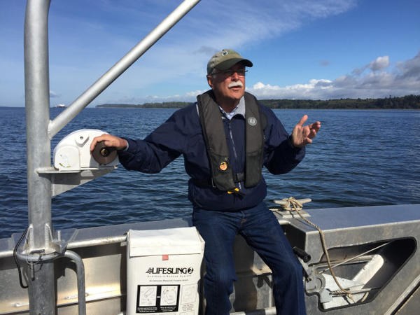 <p>Washington State Commissioner of Public Lands Peter Goldmark on a tour of Cherry Point near Bellingham.</p>