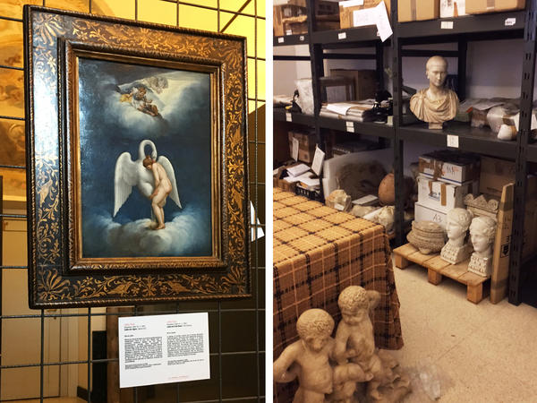 "(Left) A painting of ""Leda and the Swan"" by 16th century artist Lelio Orsi was recovered in New York City. (Right) A storage room contains recovered works."