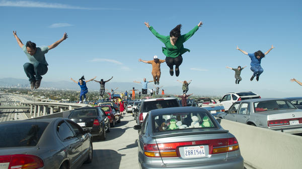 The opening musical number of <em>La La Land</em> takes place on the freeway during a massive traffic jam.