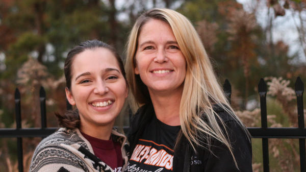 Kayla Wilson with her mother, Wendy Founds, in Little Rock, Ark.