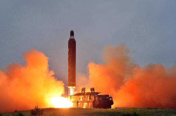 This undated picture released from North Korea's official Korean Central News Agency on June 23, 2016, shows a test launch of a medium-range Musudan ballistic missile.