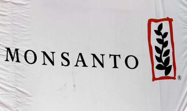 <p>This Aug. 31, 2011, file photo shows the Monsanto corporate logo at its exhibit booth during the Farm Progress Show, in Decatur, Illinois. The Port of Portland is suing the agriculture giant.</p>