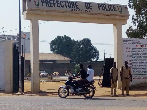The front of the prefecture of police in Bouake, Ivory Coast, on Friday, where witnesses reported heavy weapons fire.