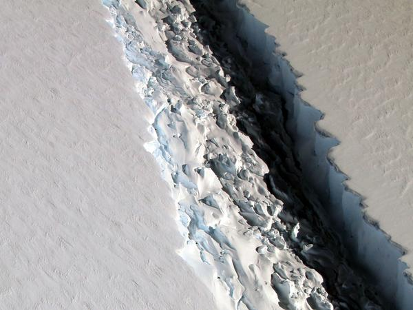 A photo of the crack in Antarctica's Larsen C ice shelf in November.