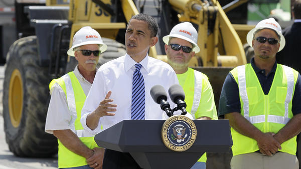 President Obama speaks at the groundbreaking of a road project funded by the American Recovery and Reinvestment Act on June 18, 2010, in Columbus, Ohio.