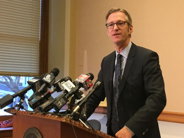 <p>Portland Mayor Ted Wheeler answers questions from the press on Friday, Jan. 6, 2017.</p>