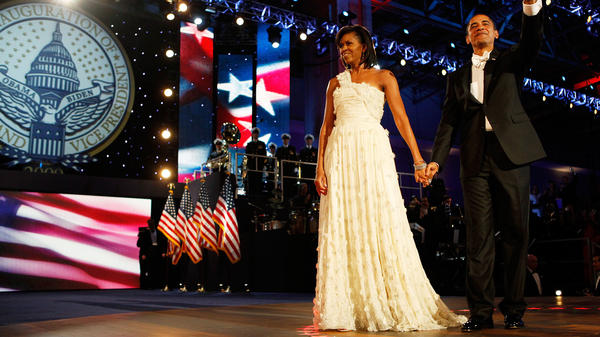 Barack and Michelle Obama attend the Neighborhood Inaugural Ball on Jan. 20, 2009. The first lady wore a gown by Jason Wu.
