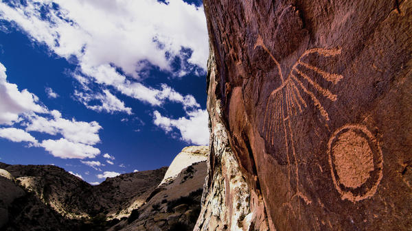 "A petroglyph of a crane on Comb Ridge, part of the Bears Ears National Monument. The Ancestral Puebloans lived in the area's alcoves and grew corn in its washes, <a href=""http://bearsearscoalition.org/project/comb-ridge/"">according to</a> the Bears Ears Inter-Tribal Coalition."