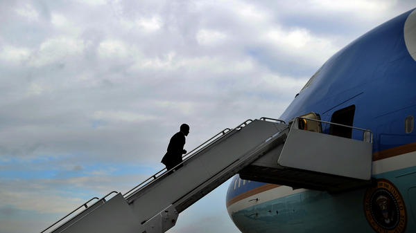President Obama boards Air Force One at Andrews Air Force Base in Maryland on Oct. 30, 2013.