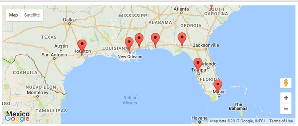 Google map of Day Against Denial Protests on Jan. 9 in Florida.