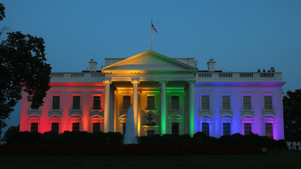 Rainbow-colored lights shine on the White House to celebrate the U.S. Supreme Court ruling in favor of same-sex marriage on June 26, 2015, in Washington, D.C.