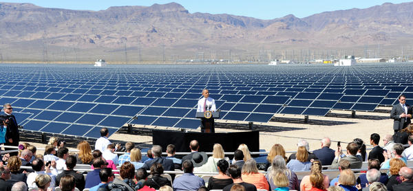 President Obama speaks at Sempra U.S. Gas & Power's Copper Mountain Solar 1 facility, the largest photovoltaic solar plant in the United States, on March 21, 2012, in Boulder City, Nev.