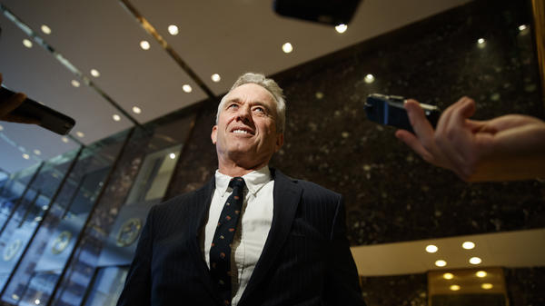 "Robert F. Kennedy Jr. in the lobby of Trump Tower in New York, Tuesday, after meeting with President-elect Donald Trump. Kennedy said Trump put him in charge of a commission on ""vaccine safety."""
