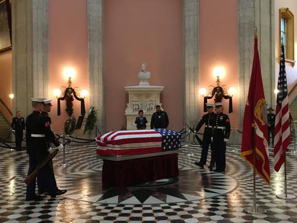The late Senator John Glenn's casket in the rotunda for public viewing at Ohio Statehouse