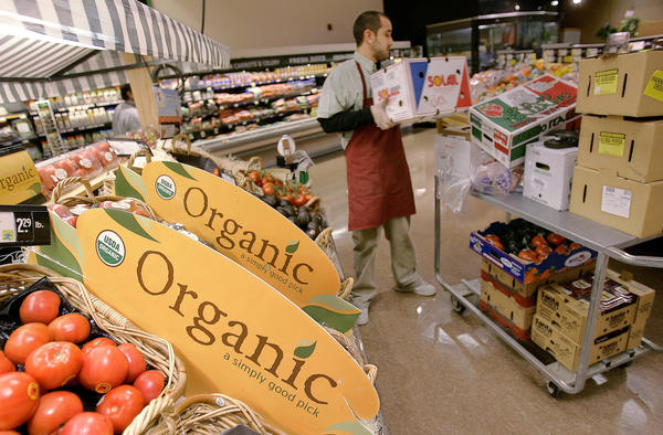 Organic produce for sale at a supermarket in Quincy, Mass.