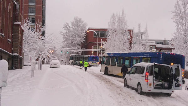 <p>The winter storm transformed some of Portland's streets into slippery, snowy gridlock. </p>
