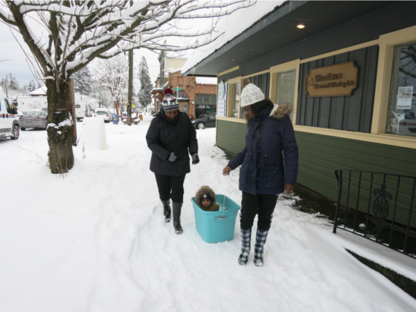 <p>Khalleeah Sparks (right) pulls her god daughter, Mylai, in a makeshift sled with Glynnis Woods on their way to the grocery store.</p>