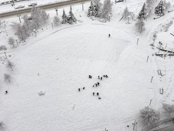 <p>An park turns into a winter playground during Oregon's snowstorm.</p>