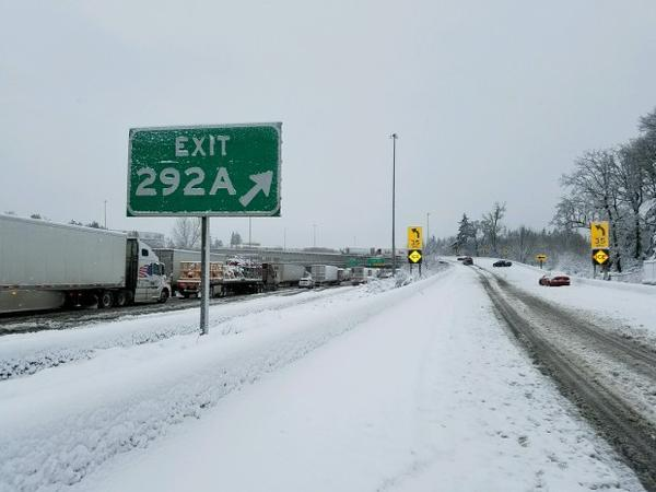"<p>Oregon State Police warns travelers that a traditionally busy section of Interstate 5 was ""a parking lot.""</p>"