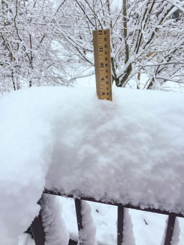 "<p>Reporter <a href=""http://www.opb.org/contributor/jeff-mapes/"" target=""_blank"">Jeff Mapes</a> measures the snow gathered on his deck railing in Southeast Portland. </p>"