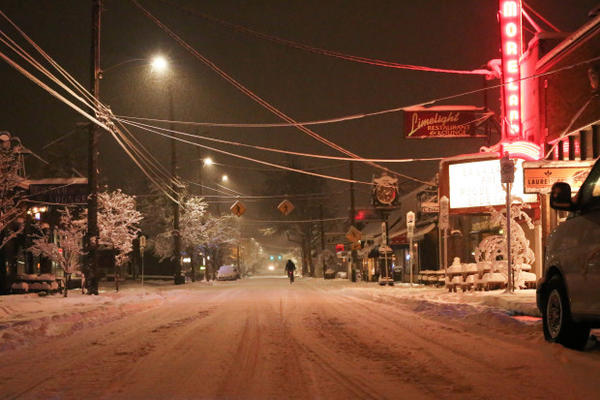 <p>A bicyclist heads north on Milwaukie Avenue in Portland's Sellwood neighborhood during a snow storm on Wednesday, Jan. 11, 2017.</p>