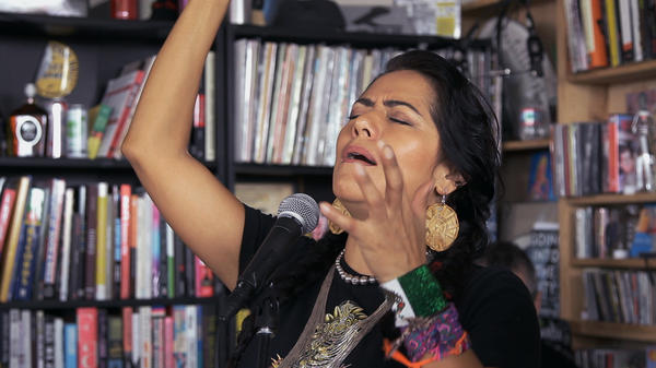 Lila Downs performs a Tiny Desk Concert on Apr. 30, 2015. (NPR)