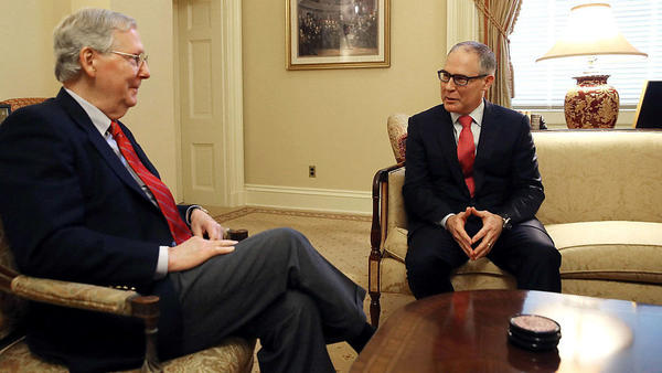 Senate Majority Leader Mitch McConnell and Scott Pruitt, Oklahoma's attorney general and President-elect Donald Trump's nominee to head the EPA, earlier this month.