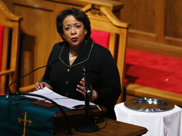 Attorney General Loretta Lynch speaks at the 16th Street Baptist Church in Birmingham, Ala., Sunday.