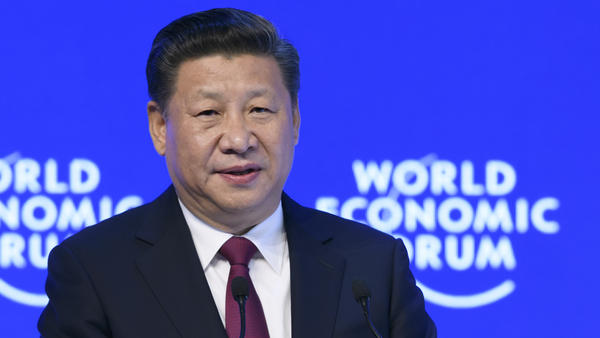 China's President Xi Jinping delivers a speech at the World Economic Forum on Tuesday in Davos, Switzerland. The global elite have begun a week of earnest debate and Alpine partying in the Swiss ski resort, in a week bookended by two presidential speeches of historic import — Xi's remarks and U.S. President-elect Donald Trump's inaugural address.