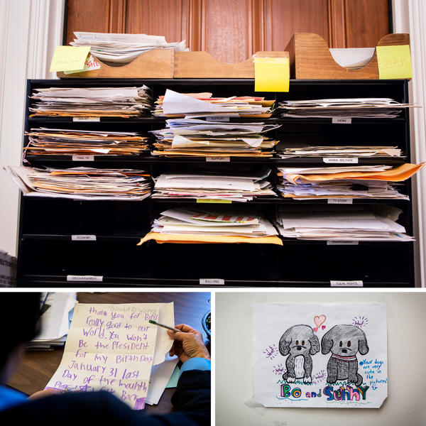 In a small room in the Eisenhower Executive Office Building, mail from children is read, sorted into categories and answered by staff — except for the few that are sent every week to President Obama. The letters are eventually stored at the National Archives and will later find a home in the president's library.