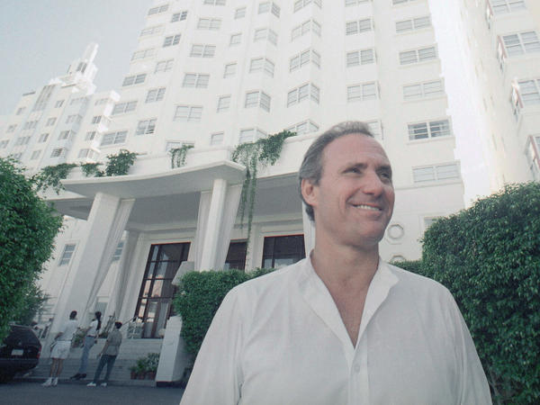 Ian Schrager in front of his new, luxurious Hotel Delano in Miami Beach, Florida on Sept. 13, 1995. Schrager, who was convicted of tax evasion in 1979, was pardoned by President Obama.