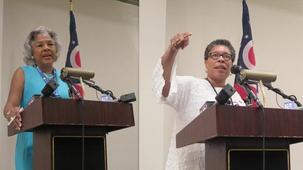 Rep. Joyce Beatty (D-OH 3rd) and Rep. Marcia Fudge (D-OH 11th) spoke at a breakfast at the Democratic National Convention in 2016.